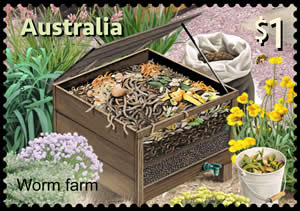 timbre Australie - Lombricompostage
